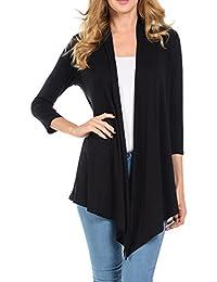 Womens 3/4 Sleeve Open Fron Soft Drape Cardigan