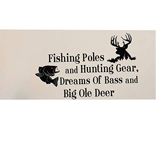 Toonol Country Wall Decals Quotes Fishing Poles and Hunting Gear Dreams of Bass and Big Ole Deer Bedroom Kids Room Wall Stickers,35 x 57cm (Fishing Wall Decals)