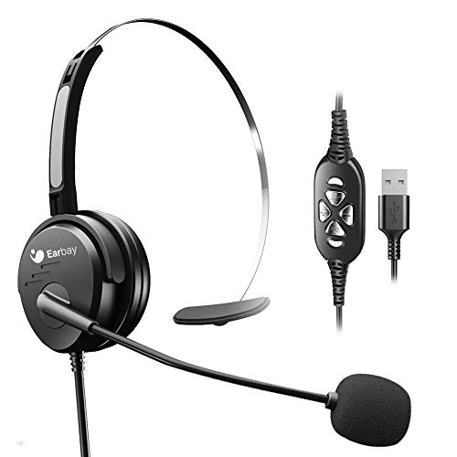 USB Headset with Mute Volume Control,Wired Computer Headsets with Microphone Noice Cancelling for Office Laptops Mac…