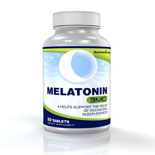 Mélatonine 3mg, 50 Easy-Swallow comprimés- Sleeping formule de l'aide, le meilleur remède de couchage de l'aide et du Number One alternative pour les personnes qui souffrent d'insomnie, les pilules de mélatonine Promouvoir une sommeil sain et une nuit com