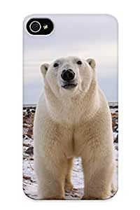 Fashion Tpu Case For Iphone 4/4s- Polar Bear Animals Bears Face Eyes Pov Nature Wildlife Predator Winter Snow Seasons Defender Case Cover For Lovers
