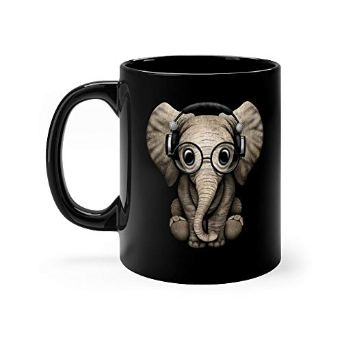 Cute Baby Elephant Dj Wearing Headphones and Glasses - Baby Elephant Mug 11oz Black Ceramic Vintage Design Coffee Tea Mug Unique Gift For Men Women (Man Wearing Glasses)