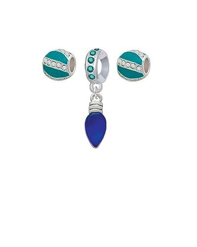 christmas lights blue resin teal sparkle crystal charm beads set of 3