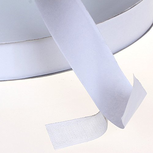 Denshine Hook and Loop Fastening Tape with Self Adhesive Sticky Back Hook and Loop Back Tape Hook and Loop Strips 82 Feet/Roll Super Long, 0.8 Inch (White)