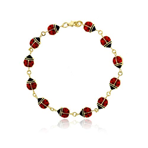 14K Yellow Gold Polished Enamel Lady Bug Bracelet For Women, 7.50