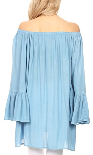 Sakkas 4 Light Anna Boho 3 Top Flowy Summer Manches Neck Blouse Large Bleu Casual rrRwAq0