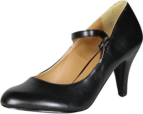 City Classified Womens Kaylee-H Pumps Shoes,Black Pu,9