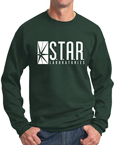 Star Labs Sweatshirt Star Laboratories Superhero Sweatshirt Hunter Green L ()