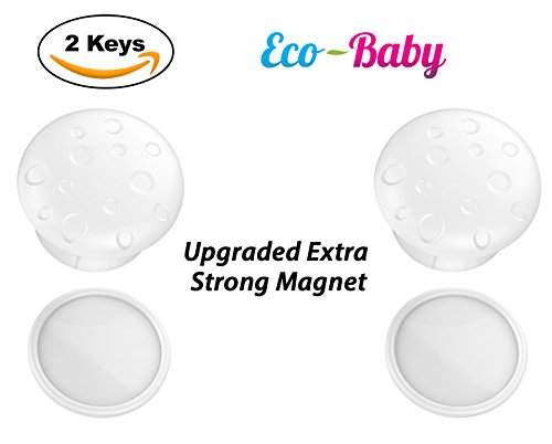 Universal Magnetic Safety Lock Key Replacements For Baby & Child Proof Cabinet & Drawer Locks by Ecobaby – Pack of 2 Magnetic Keys with 2 Adhesive Key Holders - Extra Strong & Reliable