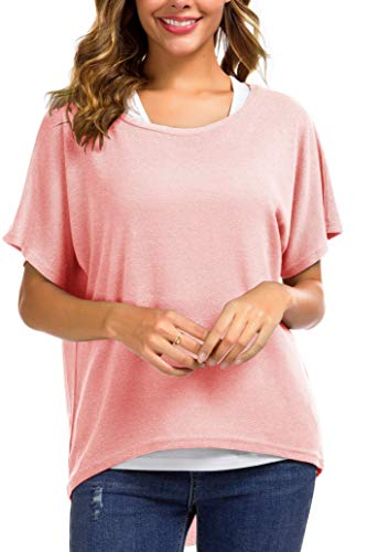 (UGET Women's Sweater Casual Oversized Baggy Loose Fitting Shirts Batwing Sleeve Pullover Tops (US 10-12 /Asia L, 01-Pink))