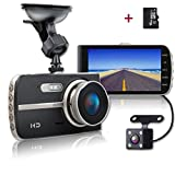 SHISHUO Dash Cam Front and Rear - 4 Inch Big Screen 1080P HD IPS Display Vehicle Driving Recording Cameras with 16GB Micro SD Card, Built In G-Sensor, Motion Detection, LED Light Compensation, Parking Monitoring, HDR Night Vision, Reversing Backup Camera - X400
