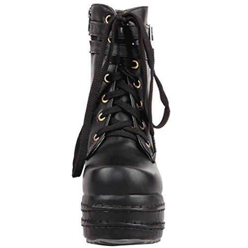 AIYOUMEI Damen Herbst Winter Plateau Keilabsatz Stiefeletten mit Schnürung und Schnalle Bequem Elegant Ankle Boots Schwarz