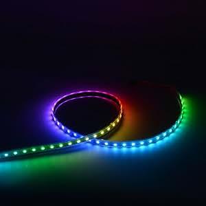 Mokungit WS2812B LED Strip Lights 3.2FT 1M 60 Pixels Programmable Individual Addressable LED Strip Light WS2812B WS2811 Built-in 5050 RGB LED Strip DC5V (Black PCB Waterproof IP67)
