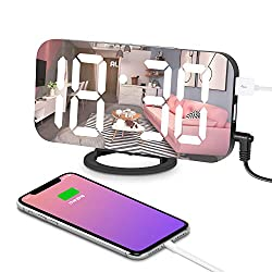 Digital Alarm Clock, Alarm Clock Large 6.5 LED Display with Dimming Mode, Adjustable Brightness, Mirror Surface, 2 USB Charging Ports and Big SNOOZE Button for Bedroom Living Room Decoration