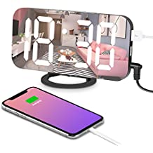 """Digital Alarm Clock, Alarm Clock Large 6.5"""" LED Display with Dimming Mode, Adjustable Brightness, Mirror Surface, 2 USB Charging Ports and Big SNOOZE Button for Bedroom Living Room Decoration"""