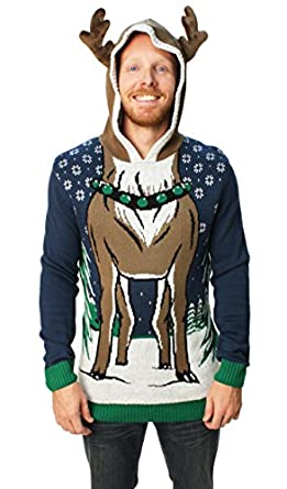 Ugly Christmas Sweater Men's Hooded Reindeer Sweater at Amazon ...