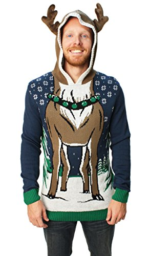 Ugly Christmas Sweater Men's Hooded Reindeer Sweater-XL for sale  Delivered anywhere in USA