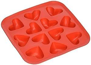Fairly Odd Novelties Novelty Gag Gift Heart Shape Flexible 12-Ice Cube Tray Mold, Rubber, Red