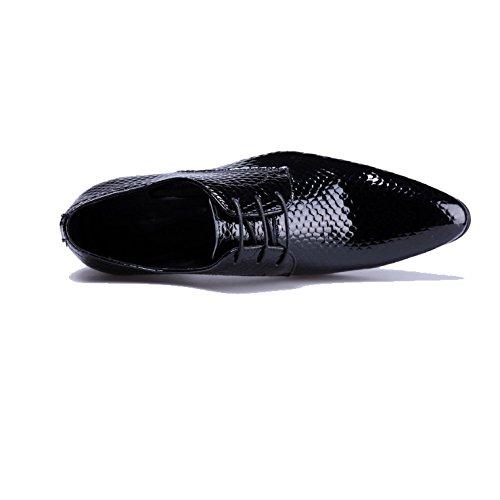 Pizzo Moda Comodo Elegante Classico Appuntito Cuoio Indossabile Affari Maschile di NIUMJ Black Scarpe CnHOqWgI