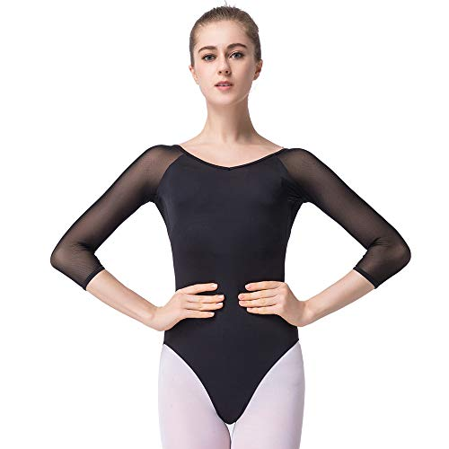 Sprotingbodybuilding Women's Ballet Leotard 3/4 Sleeve Leotard Gymnastics Leotard (black, - Leotard Adult Sleeve 3/4