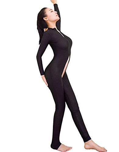 Sexy-Sheer-Opaque-Front-Zip-Vertical-Stripes-Spandex-Zentai-Catsuit-Bodysuit-Night-Club-Costume