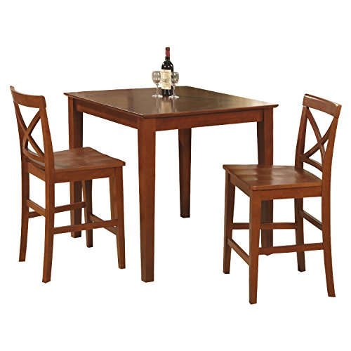 East West Furniture PUBS3-BRN-W 3-Piece Gathering Table Set,
