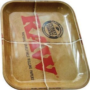 raw metal rolling tray large 14 x 11 inch