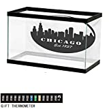 """wwwhsl Aquarium Background,Chicago Skyline,American Town Famous Urban Design in Black I Love Chicago Architecture,Black and White Fish Tank Backdrop 30"""" L X 18"""" H"""