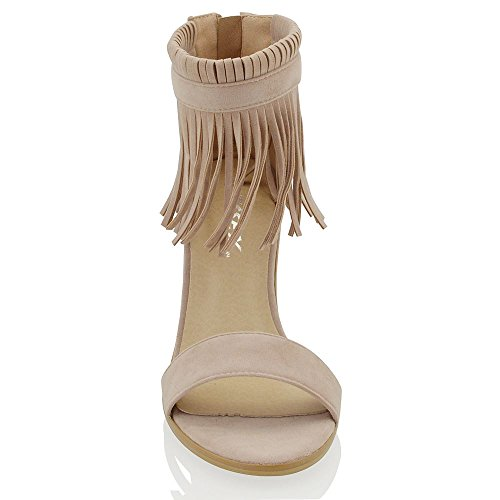ESSEX GLAM Gamuza Sintética Sandalias de punta abierta con tira al tobillo, flecos y tacón cuadrado Beige Gamuza Sintética