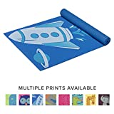 Gaiam Kids Yoga Mat Exercise Mat, Yoga for Kids with Fun Prints - Playtime for Babies, Active & Calm Toddlers and Young Children, Blue Rocket, 3mm