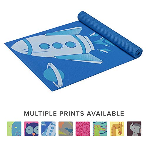 Gaiam Kids Yoga Mat Exercise Mat, Yoga for Kids with Fun Prints - Playtime for Babies, Active & Calm Toddlers and Young Children, Blue Rocket, 3mm (Exercise Equipment Mat Blue)