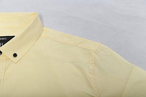 Homme À Loisir Jaune Coton Pure Chemise Affaires Manches Business Courtes Pour Nutexrol wpIXfqZ