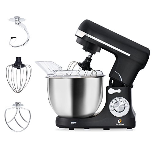 POSAME Stand Mixer 500W 6-Speed Professional Kithchen Mixer Tilt-Head Electric Food Machine with 5-Qt. Bowl,Dough Hook, Whisk, Beaters (Black) by POSAME (Image #7)
