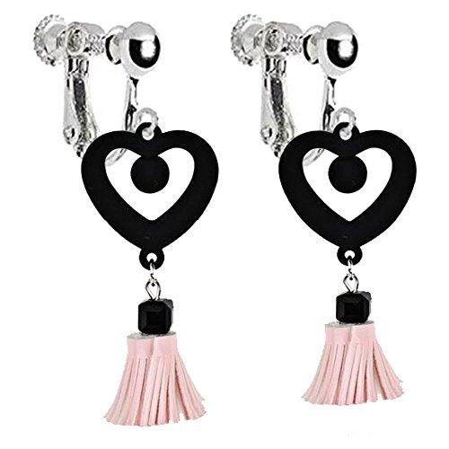 Heart Leather Earrings (Vintage Love Heart Shaped Clip on Dangle Earrings Long Leather Tassel Art Deco for Girls Women (Pink))