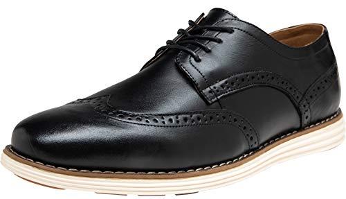 JOUSEN Men's Oxford Leather Dress Shoes Brogue Wingtip Casual Shoes (15,Wingtip-Black)