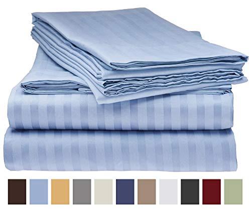 Elaine Karen 1800 Bedding Collection - Striped QUEEN Bed Sheet Set - AQUA BLUE