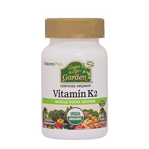 Natures Plus Source of Life Garden Organic Vitamin K2 (Menaquinone-7) Capsules - 120 mcg, 60 Vegan Supplements - Natural Whole Food Enzymes - USDA Certified, Vegetarian, Gluten Free - 60 Servings