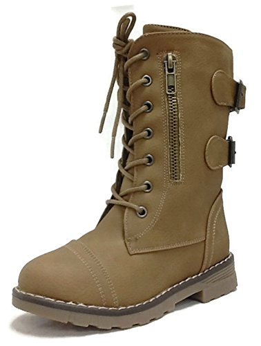 Steven Ella Girls Little Kids Faux Leather Motorcycle Army Combat Boots