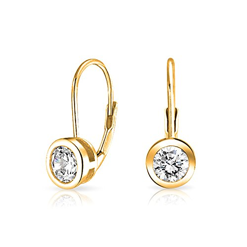 - Minimalist .50Ct Solitaire Round Bezel Brilliant Cut CZ Leverback Drop Earrings For Women 14K Gold Plate Sterling Silver