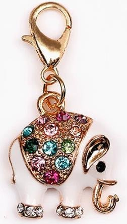 Adorable Multicolor Rhinestone Elephant - Gold Plated & Enamel with Lobster Clasp Charms - Embellish Your Purse, Also for DIY Arts & Craft Charm, Pendant, Backpack, Keychain, Unique KandyCharmz