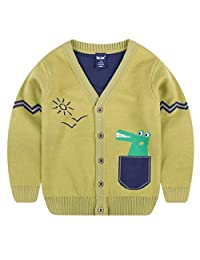 Tailloday Toddler Boys Children's Long Sleeve Knitted Sweatshirts Cartoon Dinosaur V-Neck Cardigan Sweaters(3-7T)