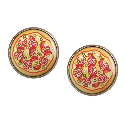 Stud Earring Pair with Cabochon Picture Pizza Italy Pizzeria bronze 0.63 inch