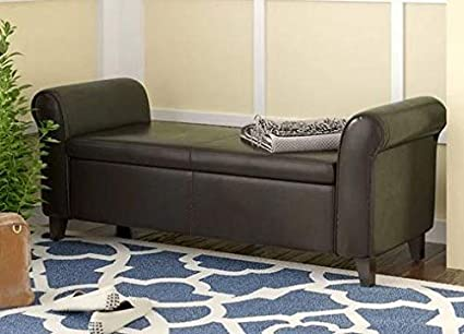 Amazon.com: Teko- Espresso Faux Leather Upholstered with ...