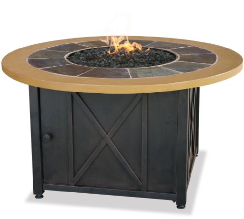 Uniflame Outdoor Firebowl (Uniflame LP Gas Outdoor Firebowl with Slate & Faux Wood Mantel)
