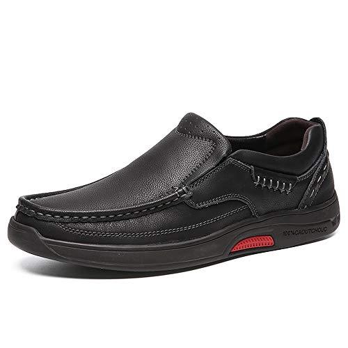 Sunny&Baby Men's Fashion Sneaker Flat Heel Soft Genuine Leather Classic Design Oxfords Abrasion Resistant (Color : Black, Size : 7.5 D(M) US) ()