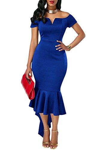 Women Long Evening Party Dress Blue - 7