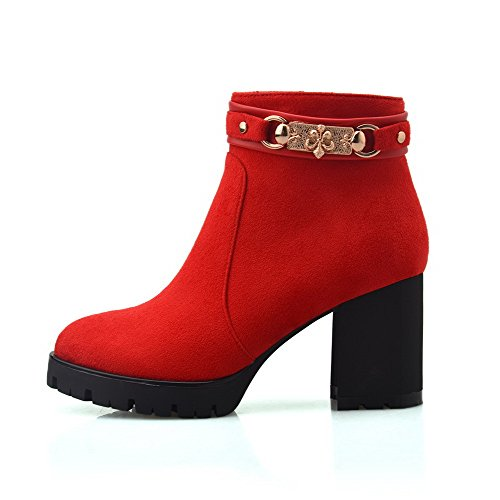 AllhqFashion Damen Mittler Absatz Rein Rund Zehe Mattglasbirne Reißverschluss Stiefel, Rot, 35