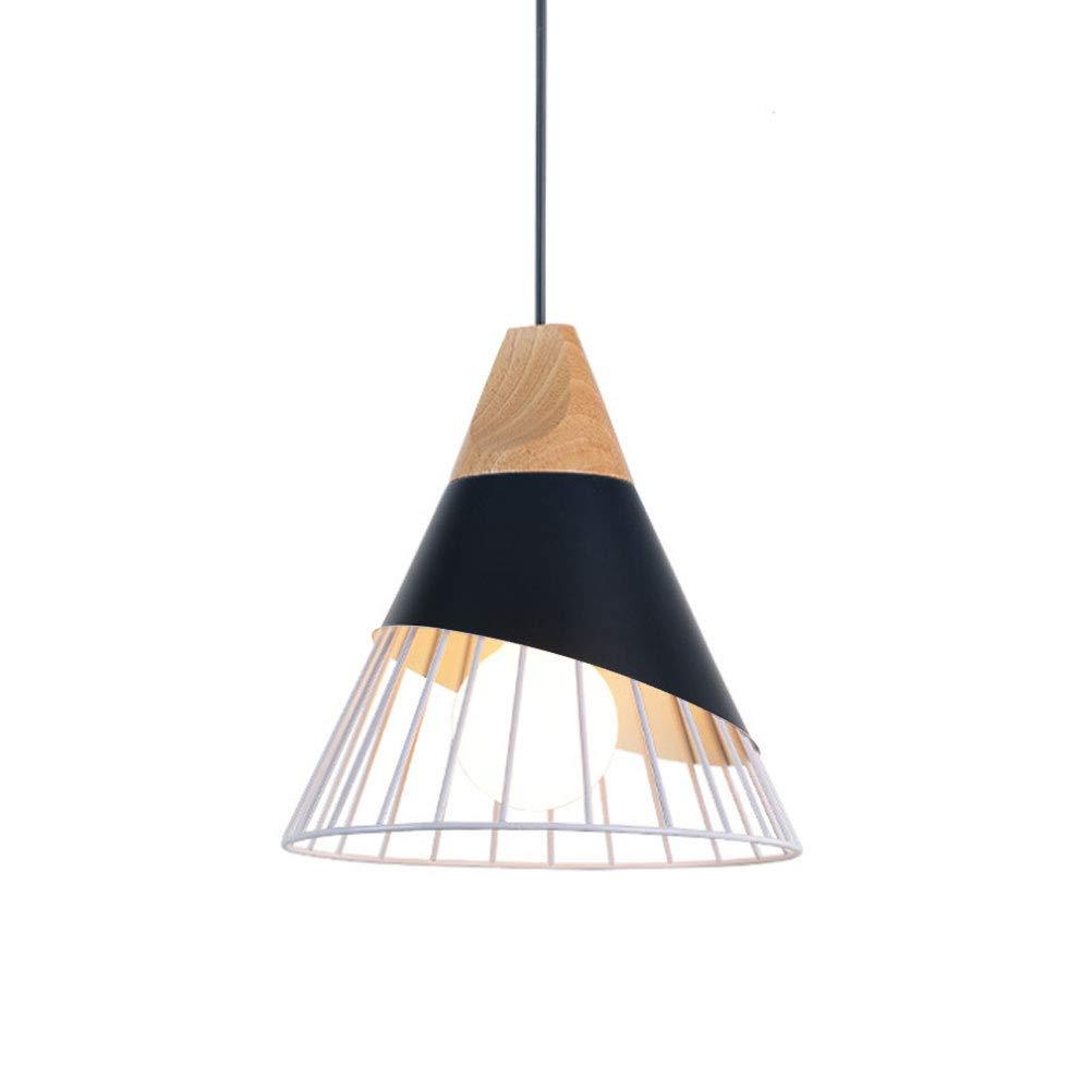 BIN Single-Headed Cone Chandelier,Wood+Iron,Black and White Φ25cm,Black+White