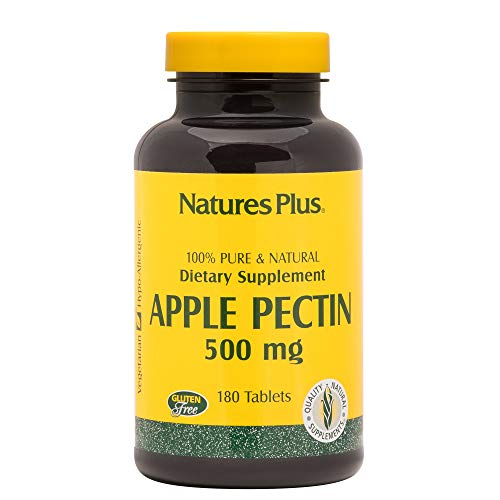 Natures Plus Apple Pectin - 500 mg, 180 Vegetarian Tablets - Natural Fiber Supplement, Supports Healthy Digestive Function, Regularity - Gluten Free - 180 Servings