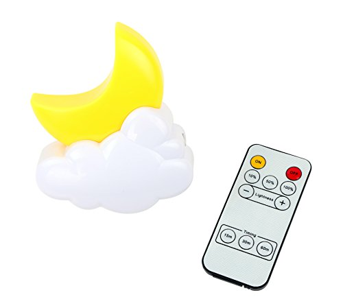 Moon Plug-in Remote Control Led Night Light Decorative Nite - Adjustable Bright Bedside Dim Baby Nursery Nightlights - Unique Wall Lamp with Timer Best for Home and Kids Children's Adults Bedroom